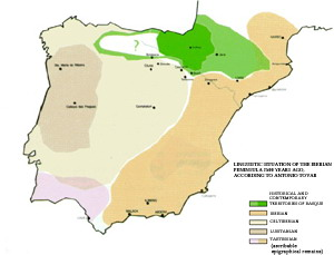 Linguistic situation of the Iberian Peninsula 2500 years ago, according to the linguist Antonio Tovar. Click the map to enlarge.