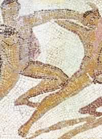 Theseus, fighting against the Minotaur. Mosaic found in  Pamplona (Navarra)